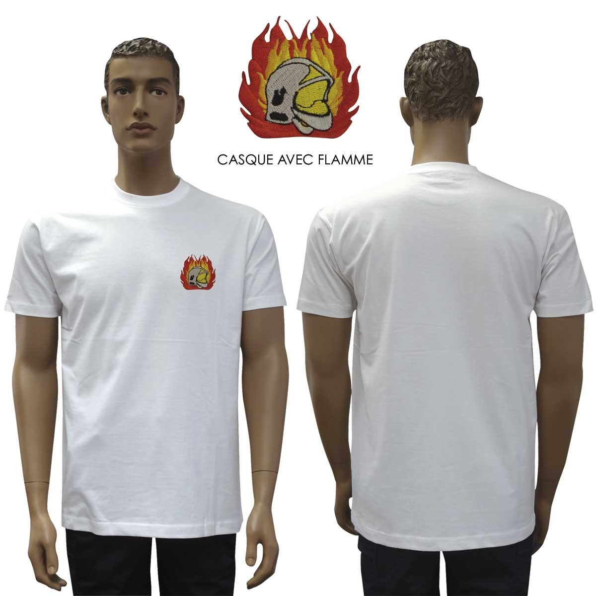 TEE SHIRT BRODE BLANC MANCHES COURTES