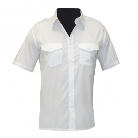 CHEMISE PILOTE BLANCHE MANCHES COURTES