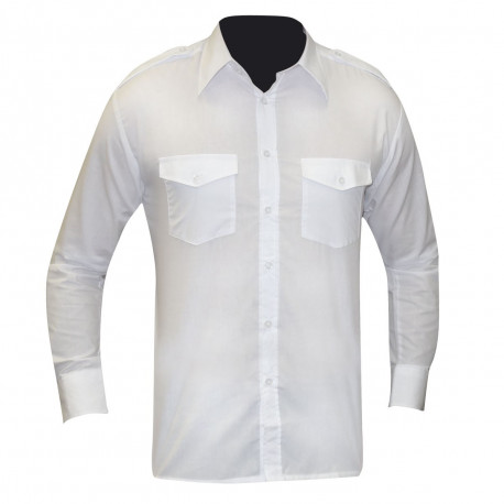 CHEMISE PILOTE BLANCHE MANCHES LONGUES