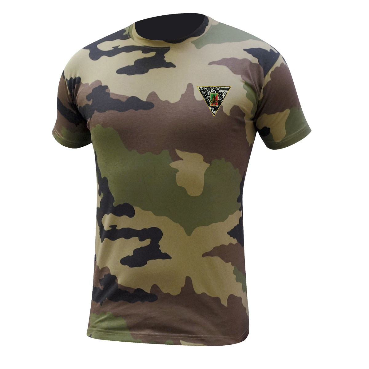 TEE SHIRT MANCHES COURTES CAMOUFLAGE BRODE 2 REP