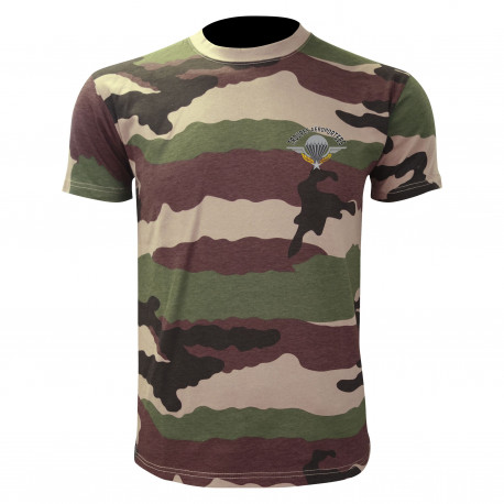 TEE SHIRT MANCHES COURTES CAMOUFLAGE SERIGRAPHIE PARA