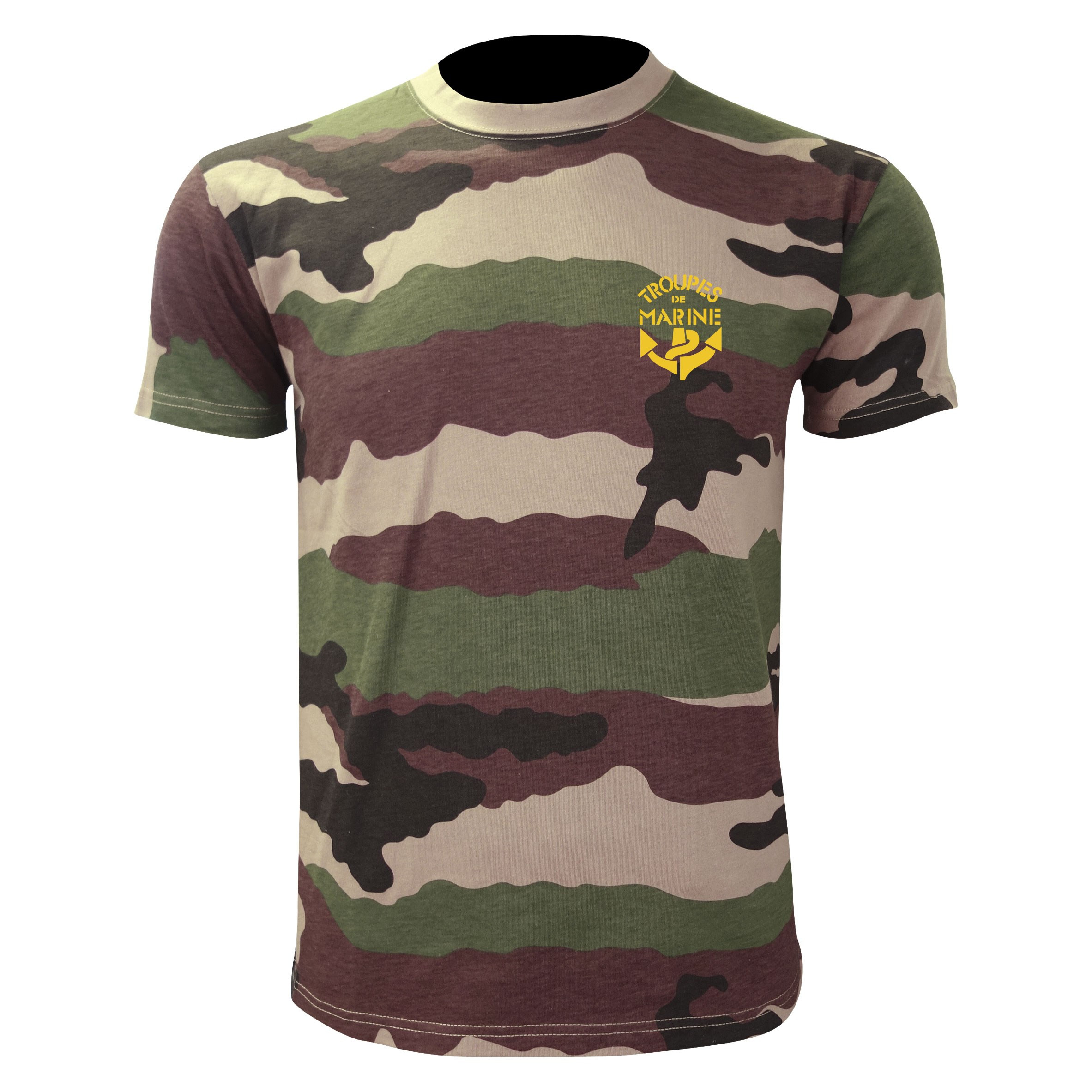 TEE SHIRT MANCHES COURTES CAMOUFLAGE SERIGRAPHIE TDM